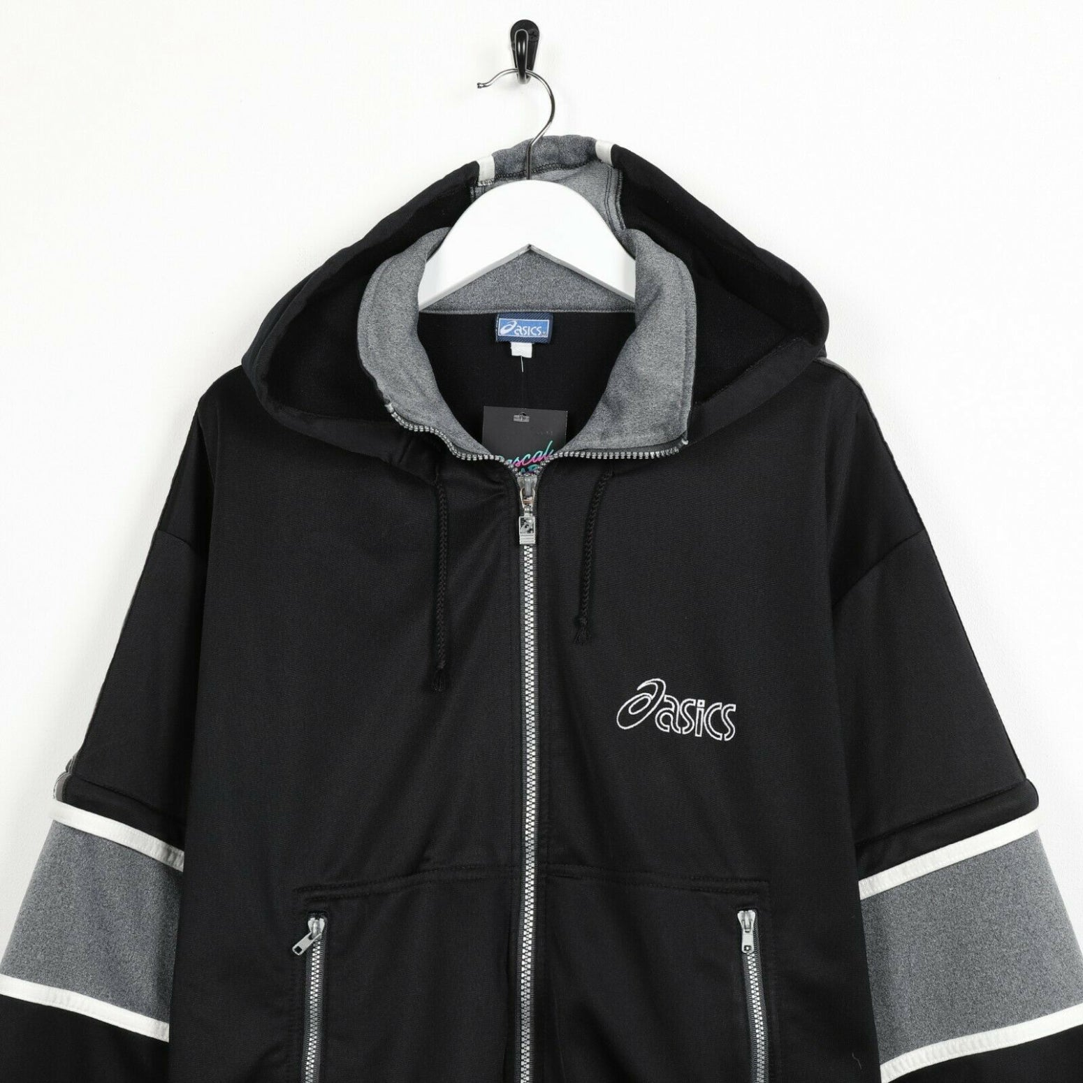 Vintage 90s ASICS Small Logo Hooded Tracksuit Top Jacket Black | XL