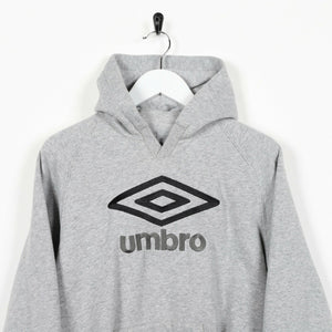Vintage Women's UMBRO Big Spell Out Logo Hoodie Sweatshirt Grey | Small S