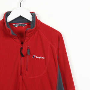 Vintage BERGHAUS Small Logo 1/4 Zip Fleece Top Red | Large L