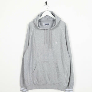 Vintage CHAMPION Small Logo Hoodie Sweatshirt Grey | XL