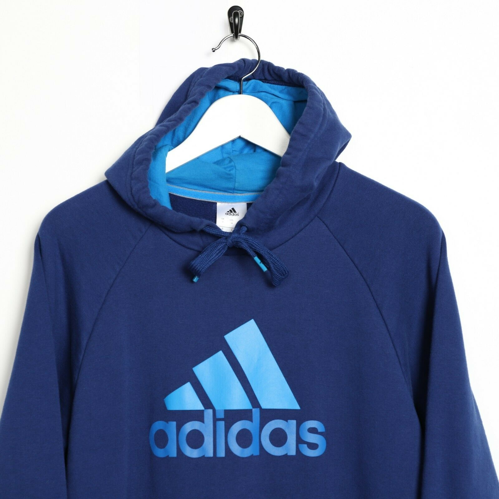 Vintage ADIDAS Big Logo Hoodie Sweatshirt Blue Medium M