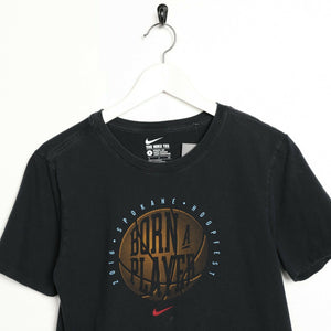 Vintage NIKE Big Graphic Basketball Logo T Shirt Tee Black Small S
