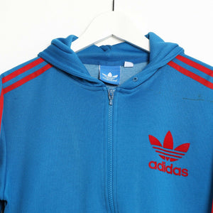 Vintage ADIDAS ORIGINALS Zip Up Polyester Hoodie Blue Red Small S