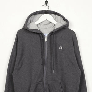 Vintage CHAMPION Small Logo Zip Up Hoodie Sweatshirt Grey | Small S