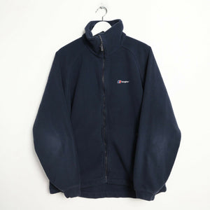 Vintage BERGHAUS Small Logo Zip Up Fleece Top Navy Blue XL