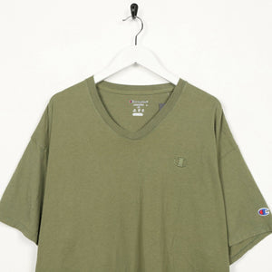 Vintage CHAMPION Small Logo T Shirt Tee Green XL