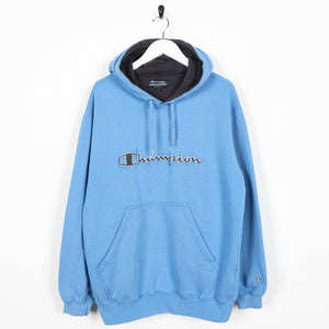 Vintage CHAMPION Big Spell Out Cuff Logo Hoodie Sweatshirt Blue | Large L