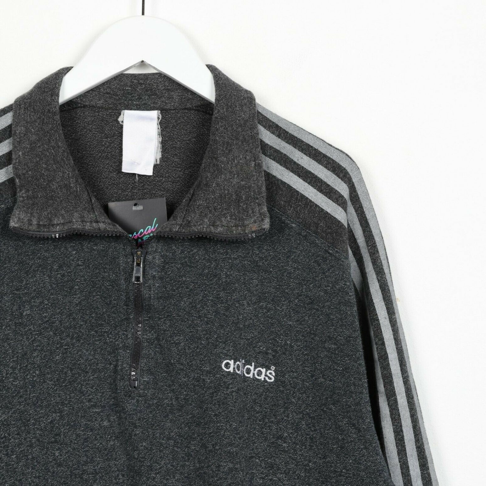Vintage ADIDAS Small Logo 1/4 Zip Sweatshirt Jumper Grey | Medium M