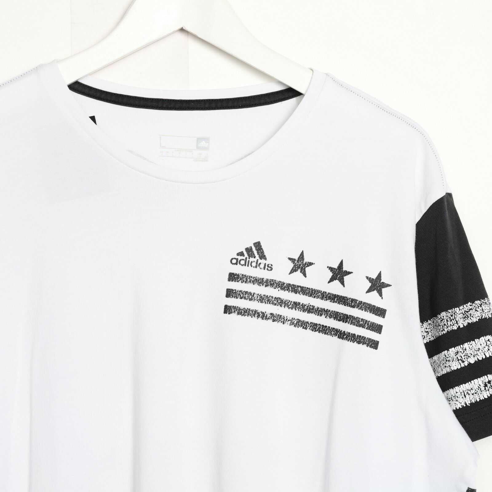 Vintage ADIDAS Graphic Print T Shirt Tee White | Large L