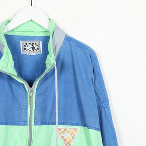 Vintage 90s RODE WALKER Small Logo Jacket Blue Grey | Large L