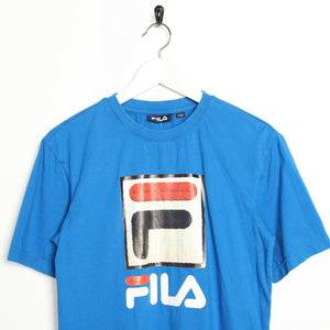 Vintage FILA Big Logo T Shirt Tee Blue Small S