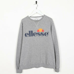 Vintage ELLESSE Spell Out Logo Sweatshirt Jumper Grey Large L
