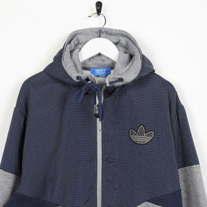 Vintage ADIDAS ORIGINALS Small Logo Zip Up Hoodie Sweatshirt Grey | 2XL