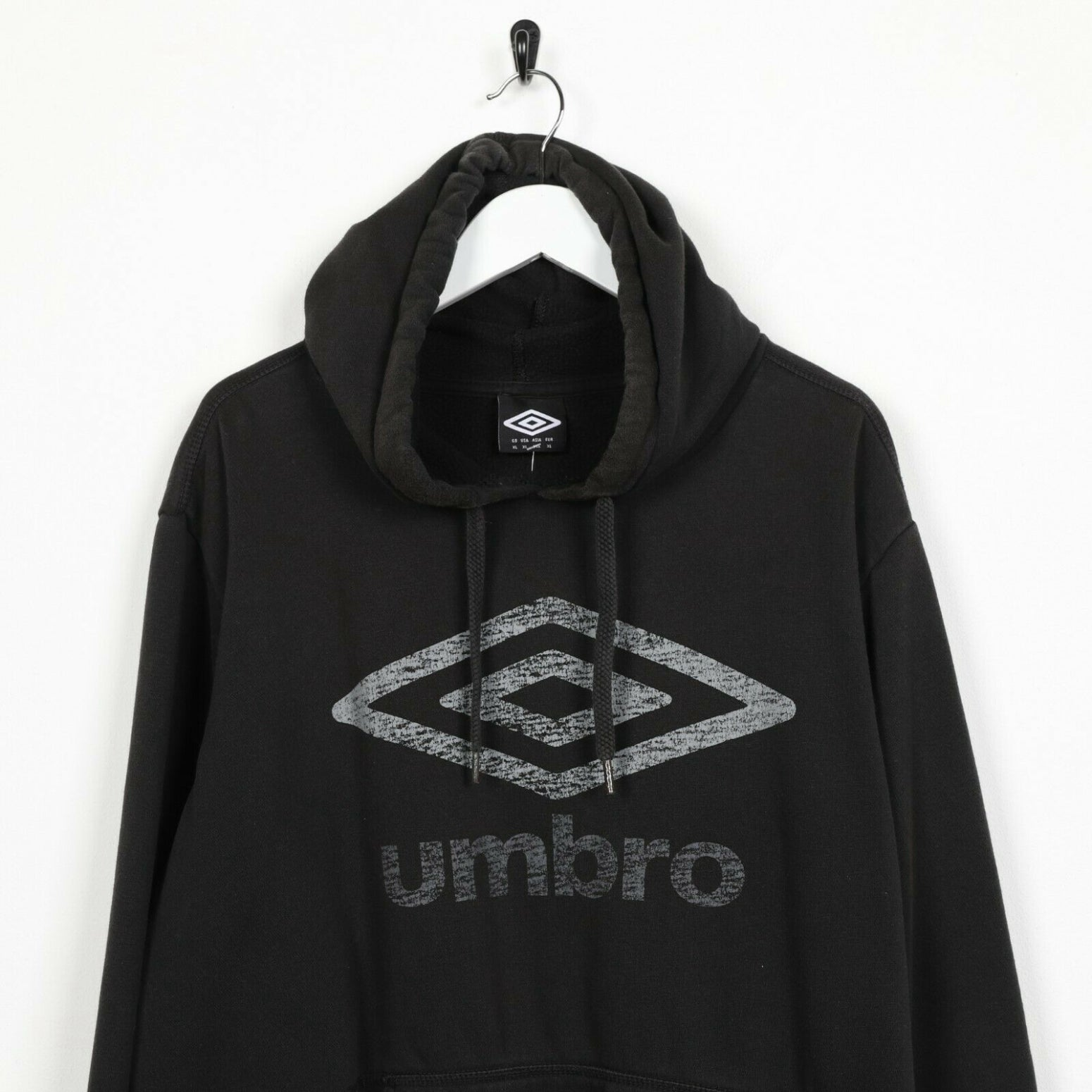 Vintage UMBRO Big Logo Hoodie Sweatshirt Black | XL
