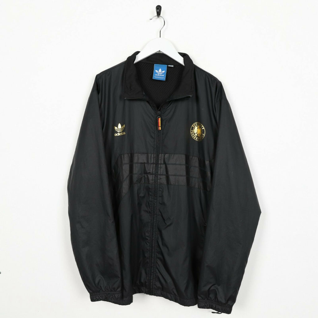 Vintage ADIDAS ORIGINALS Deutscher Football Windbreaker Jacket Black | XL