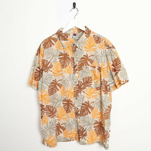 Vintage 90s ABSTRACT Short Sleeve Festival Party Shirt Orange XL