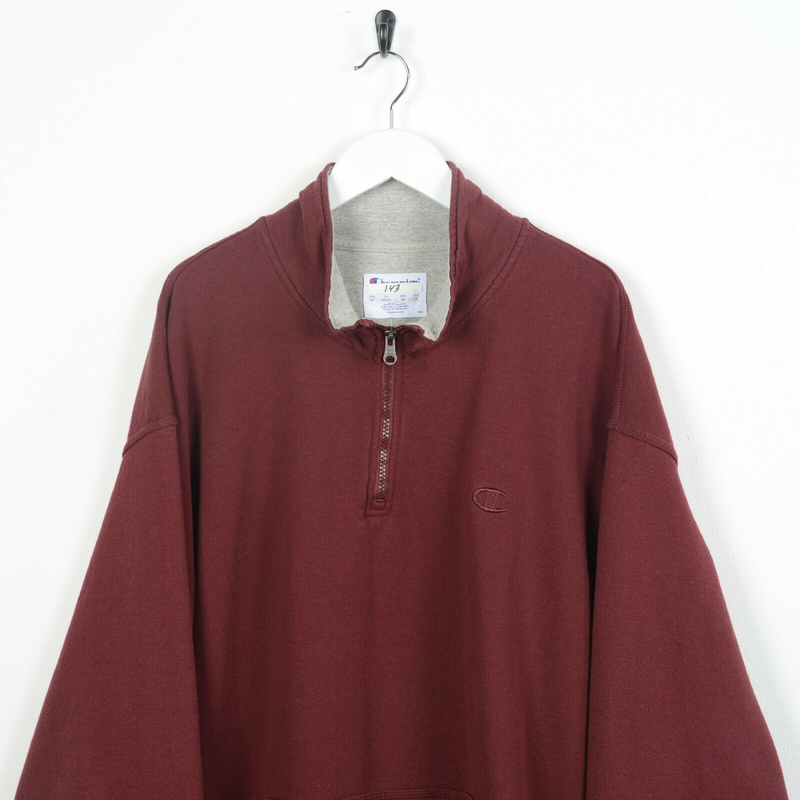 Vintage 90s CHAMPION Cuff Logo 1/4 Zip Sweatshirt Jumper Burgundy Red 2XL