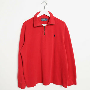 Vintage RALPH LAUREN Small Logo 1/4 Zip Sweatshirt Jumper Red | Large L