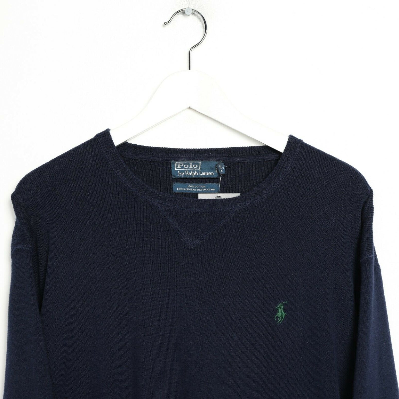 Vintage RALPH LAUREN Small Logo Lightweight Sweatshirt Navy Blue Large L