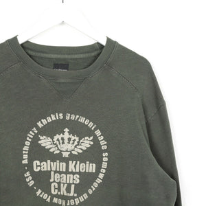 Vintage CALVIN KLEIN JEANS Big Graphic Logo Sweatshirt Jumper Green Medium M