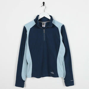 Vintage Women's THE NORTH FACE Small Logo 1/4 Zip Fleece Top Blue | Small S