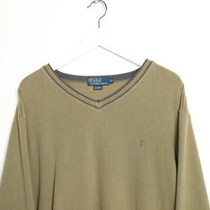 Vintage RALPH LAUREN Small Logo V Neck Sweatshirt Jumper Green XL