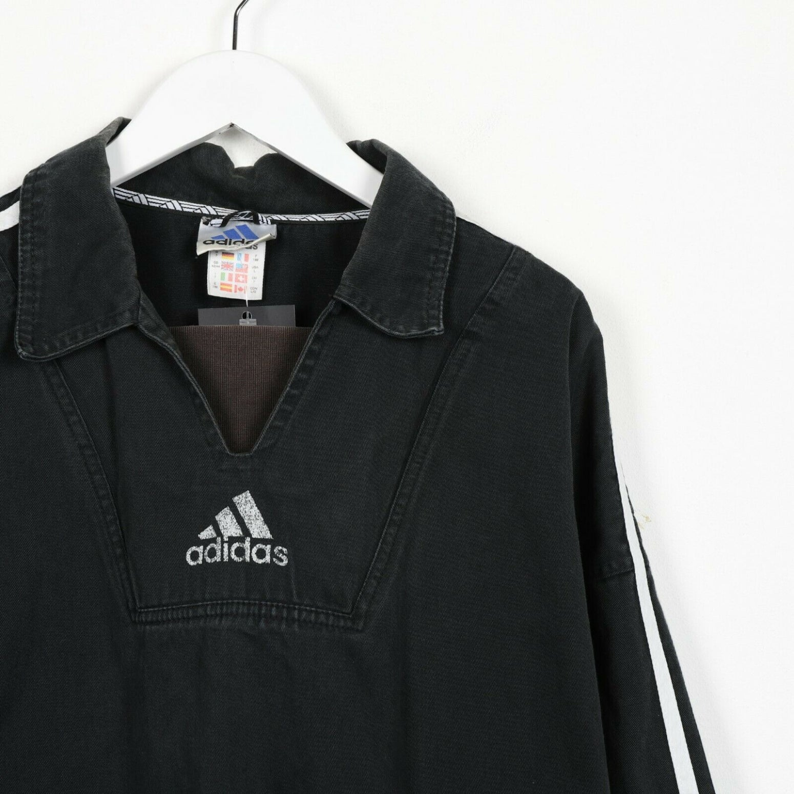 Vintage 90s ADIDAS Big Back Logo Drill Top Sweatshirt Jumper Black | Large L