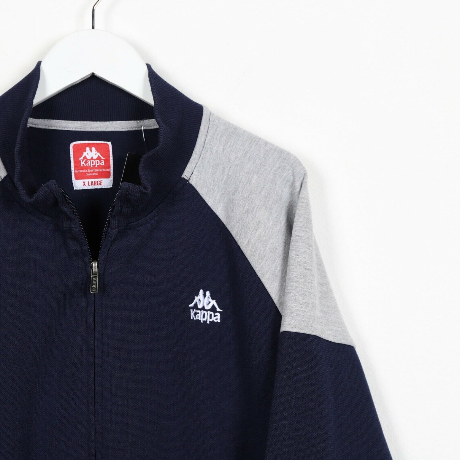 Vintage KAPPA Small Logo Tape Arm Full Zip Sweatshirt Jumper Navy Blue Grey | XL