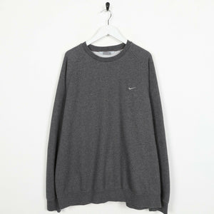 Vintage NIKE Small Logo Sweatshirt Jumper Grey | 2XL