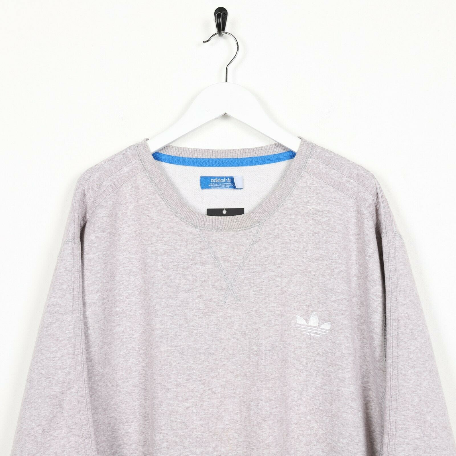 Vintage ADIDAS ORIGINALS Small Trefoil Logo Sweatshirt Jumper Grey | XL