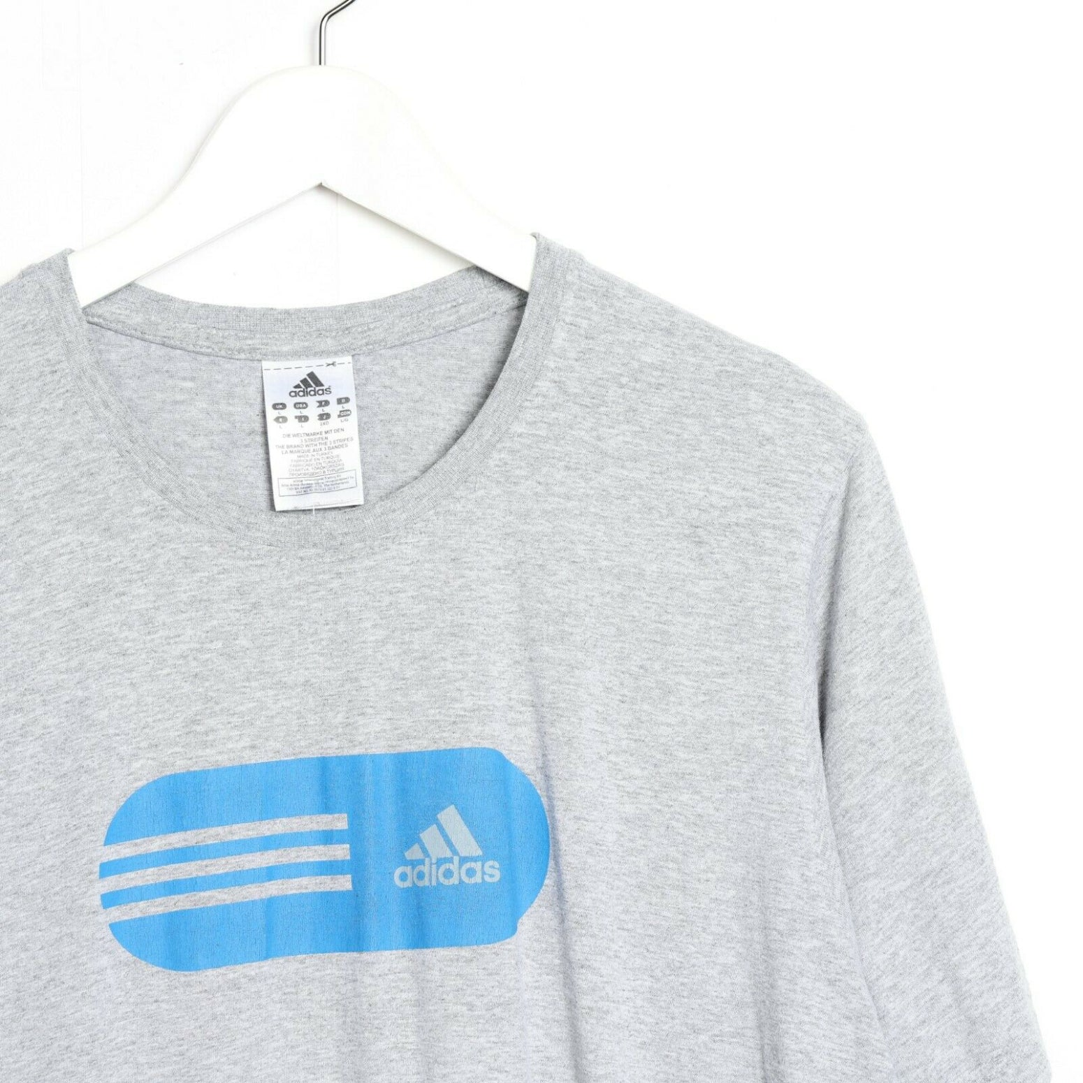 Vintage ADIDAS ORIGINALS Big Logo T Shirt Tee Grey Large L