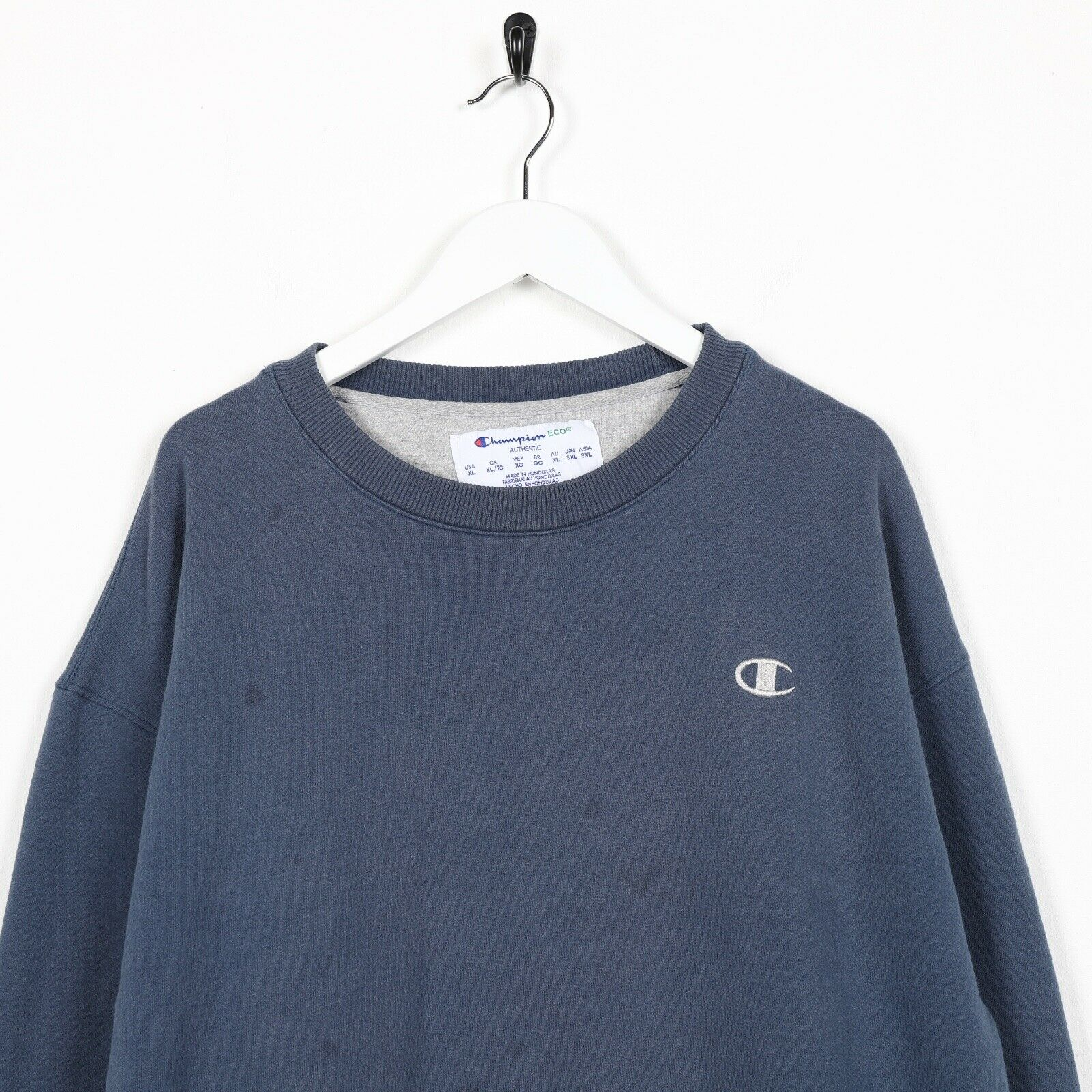 Vintage CHAMPION Small Logo Sweatshirt Jumper Navy Blue | XL