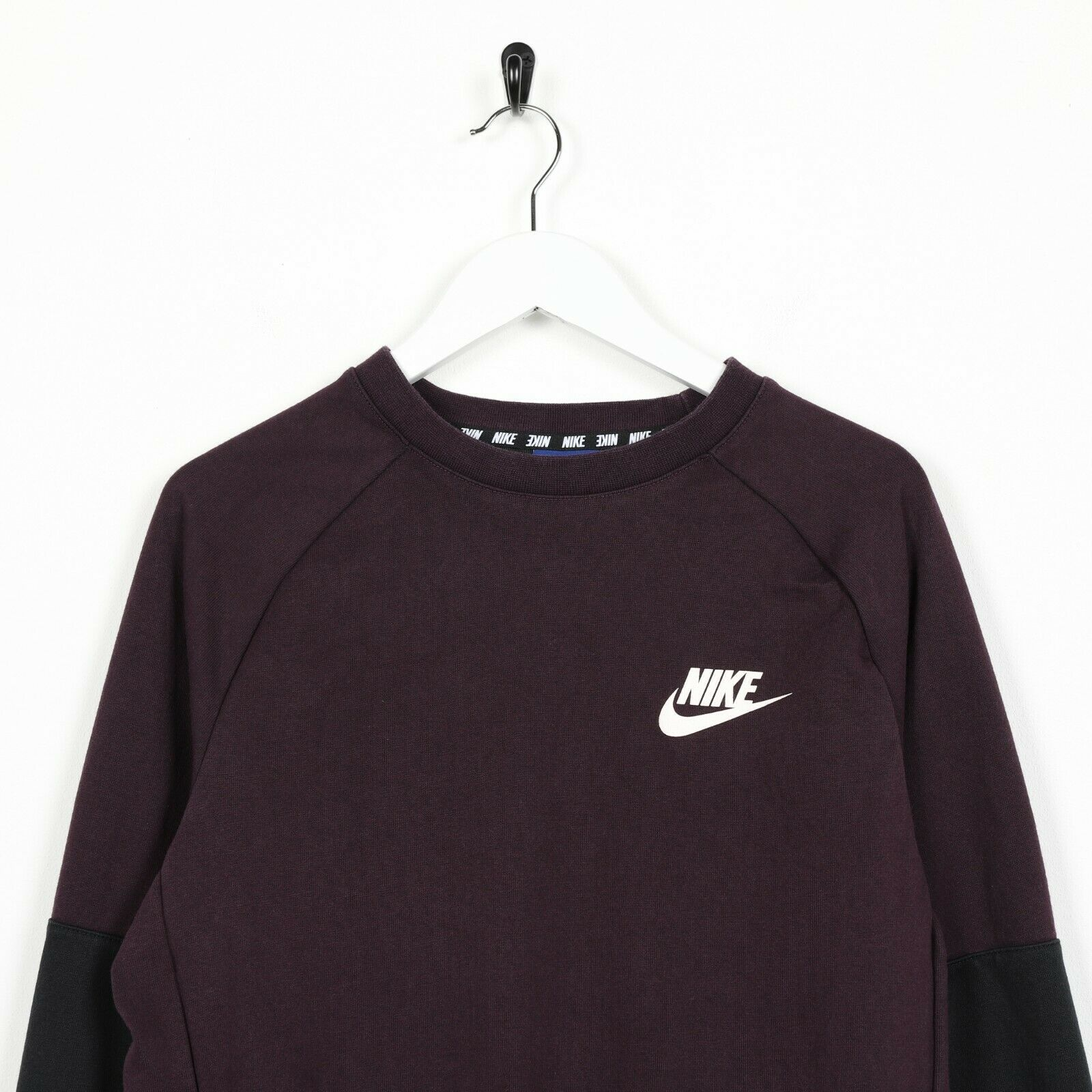 Vintage NIKE Spell Out Logo Sweatshirt Jumper Dark Purple Small S