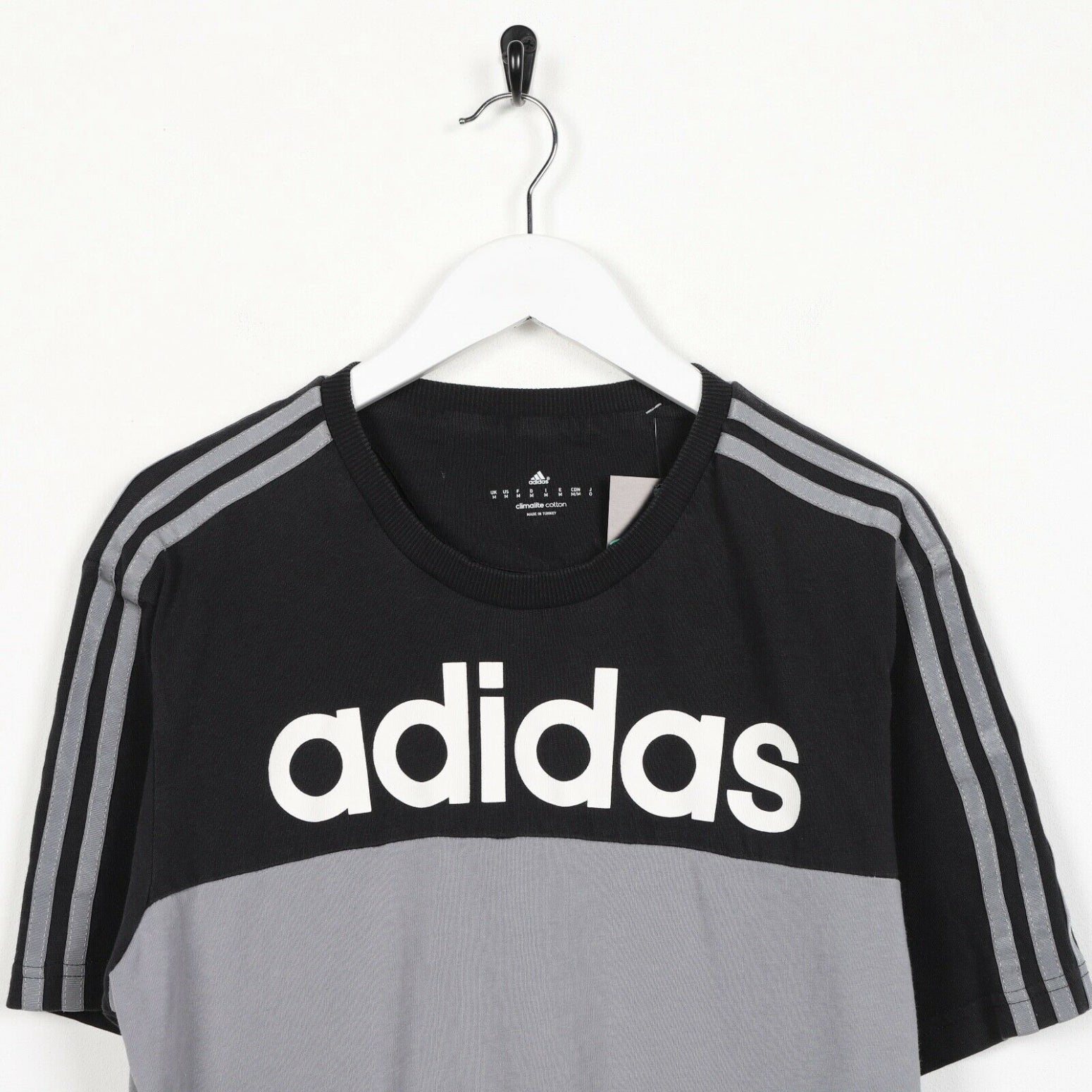 Vintage ADIDAS Spell Out Logo T Shirt Tee Grey Medium M