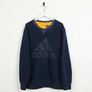 Vintage ADIDAS Big Logo Sweatshirt Jumper Navy Blue | Large L
