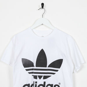 Vintage ADIDAS Big Spell Out Back Logo T Shirt Tee White Small S