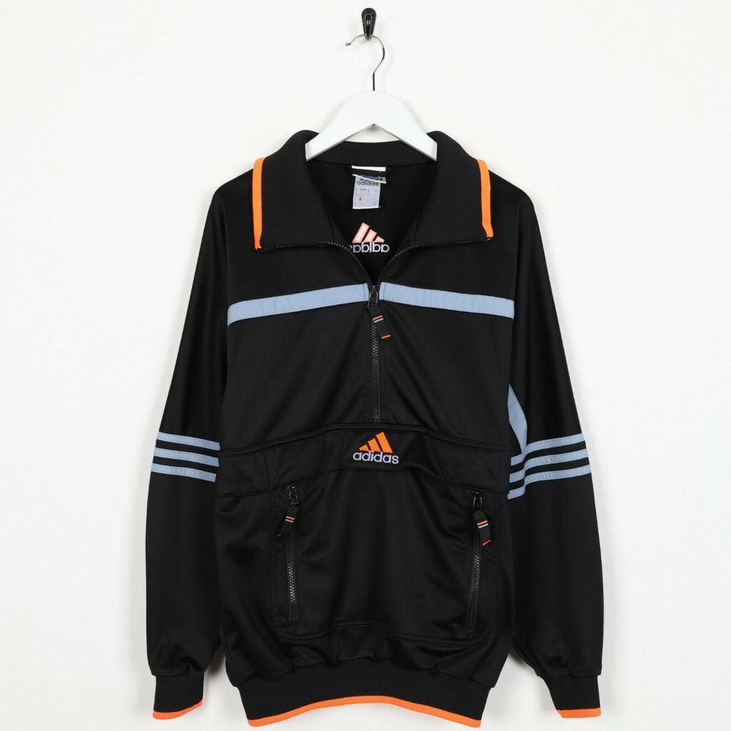 Vintage 90s ADIDAS Central Logo 1/2 Zip Track Top Jacket Black | Small S