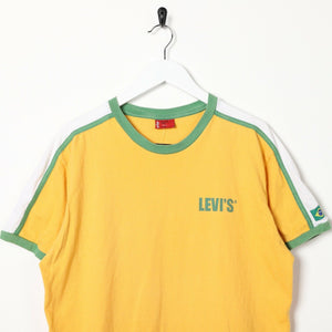 Vintage LEVI'S Spell Out Back Logo T Shirt Tee Yellow | Large L