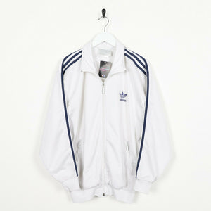 Vintage 80s ADIDAS Small Logo Track Top Jacket Pale Grey Medium M