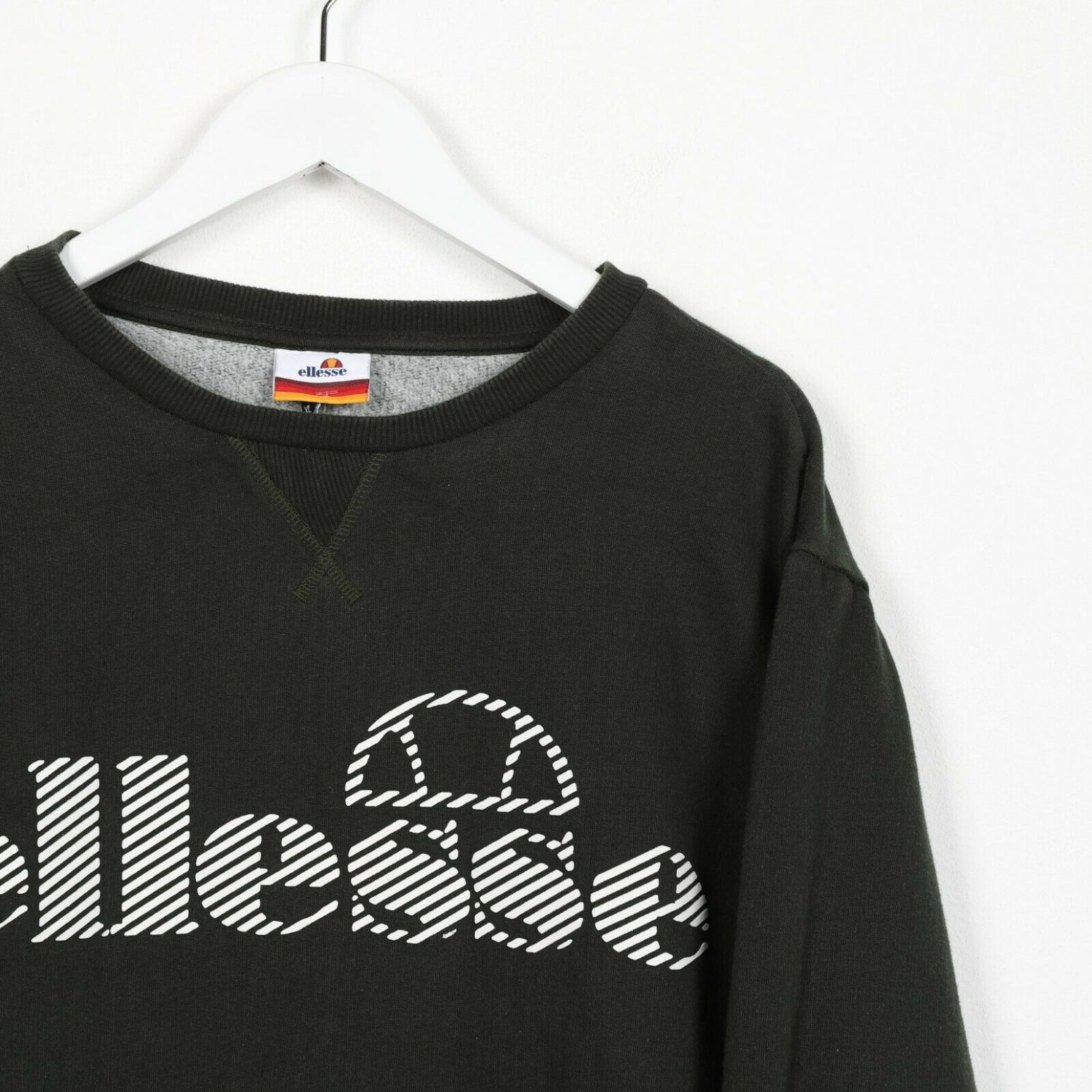 Vintage ELLESSE Spell Out Logo Sweatshirt Jumper Green | XL