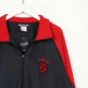 Vintage REEBOK Small Logo Zip Up Track Top Jacket Red Black XL