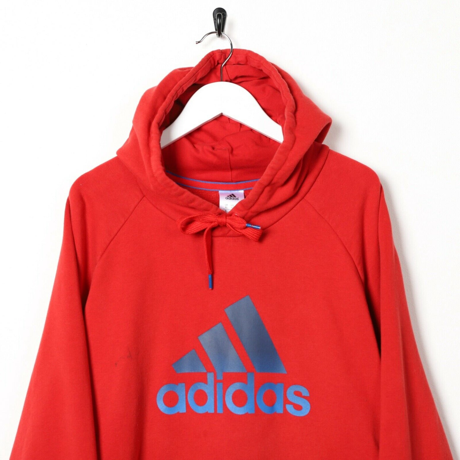 Vintage ADIDAS Big Logo Hoodie Sweatshirt Red | XL