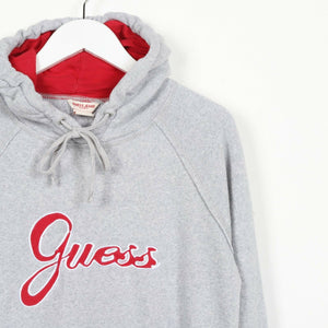 Vintage Women's GUESS Big Spell Out Logo Hoodie Sweatshirt Grey | Small S