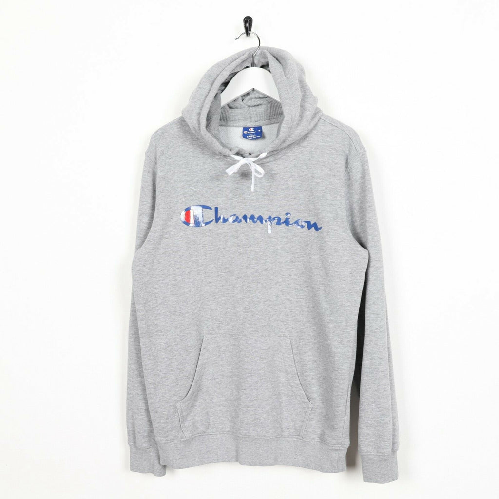 Vintage CHAMPION Big Logo Hoodie Sweatshirt Grey | Small S