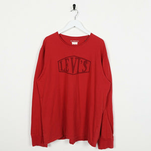 Vintage LEVI'S Big Spell Out Logo Long Sleeve T Shirt Tee Red Large L