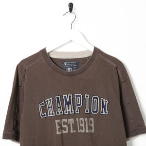 Vintage CHAMPION Central Spell Out Logo T Shirt Tee Brown XL