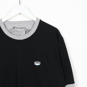 Vintage CHAMPION Small Logo T Shirt Tee Black Large L