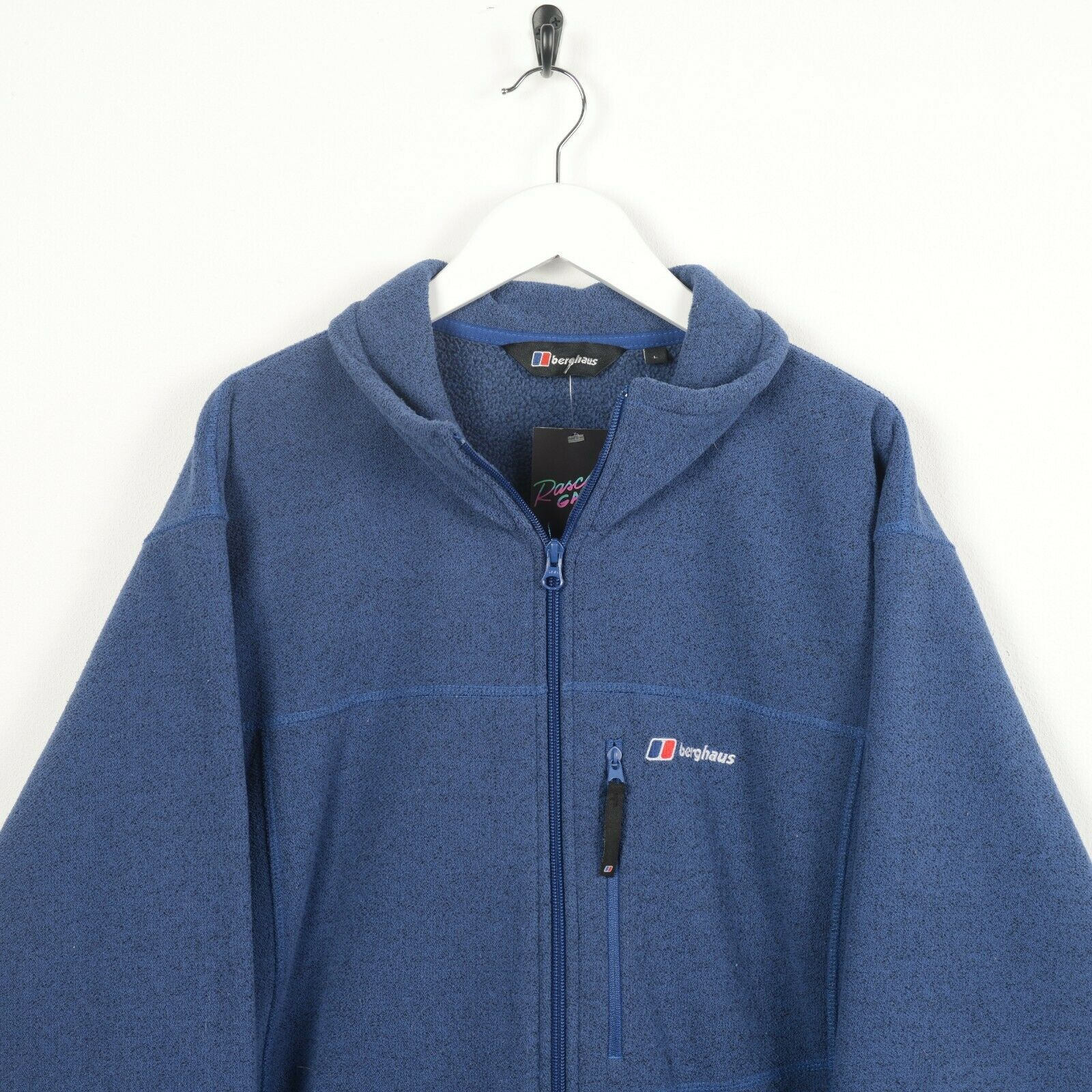 Vintage BERGHAUS Small Logo Zip Up Fleece Top Blue | Large L