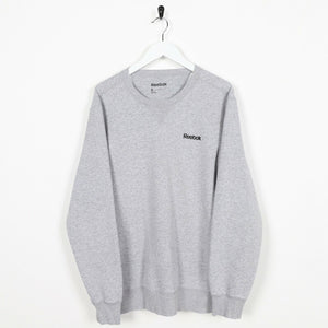 Vintage REEBOK Small Logo Sweatshirt Jumper Grey | Small S