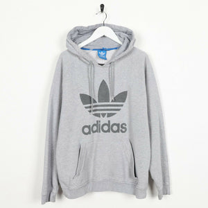 Vintage ADIDAS ORIGINALS Big Trefoil Logo Hoodie Sweatshirt Grey | Large L